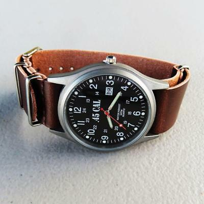 Mens WW2 Military Style Watch, Analog, Quartz, Date, Dark Leather Strap & EXTRAS