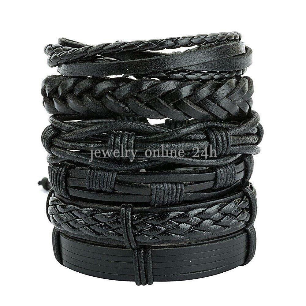 6pcs men women black braided leather bracelet