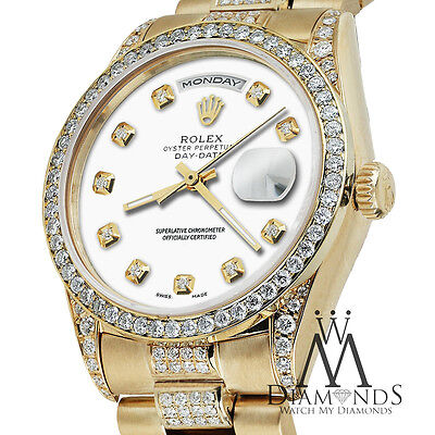 Rolex Presidential 18K Yellow Gold Day Date White Dial with Diamond Bezel Watch