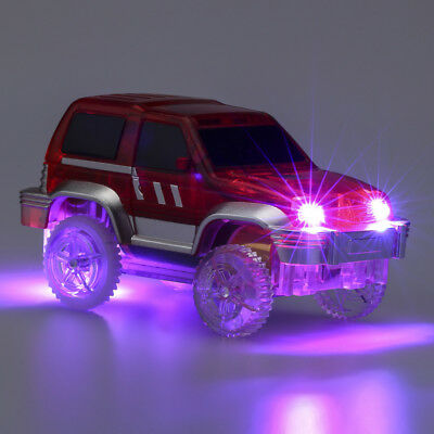 LED Light Up Cars For Magic Tracks Electronics Car Toys With Flashing Lights Fan