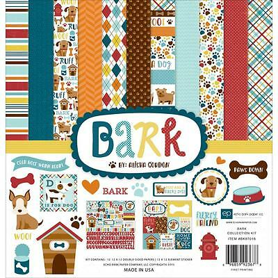 (Scrapbooking Crafts 12X12 Paper Kit Echo Park Bark Dogs Paws Woof House Bones)