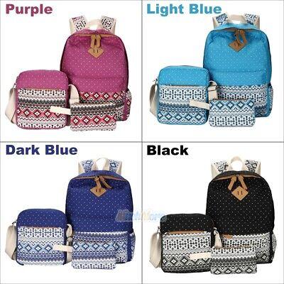 3Pcs Women Girl Canvas Cute Backpack Rucksack School Travel Shoulder Teen Bag