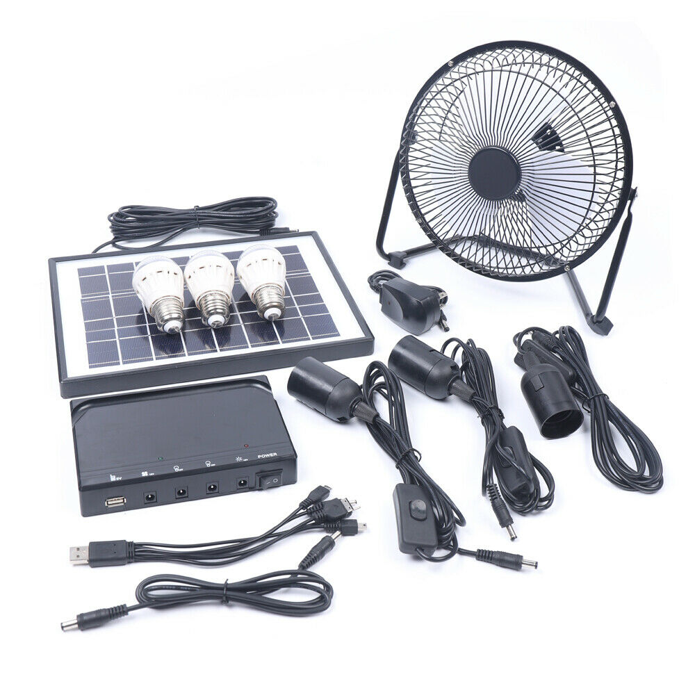 Solar Power Panel Generator Energy Storage USB Charger System Kit+3 LED Light US 5