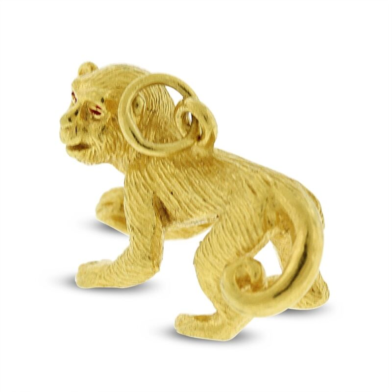 Vintage Exquisite Monkey Charm Solid 22k Yellow Gold
