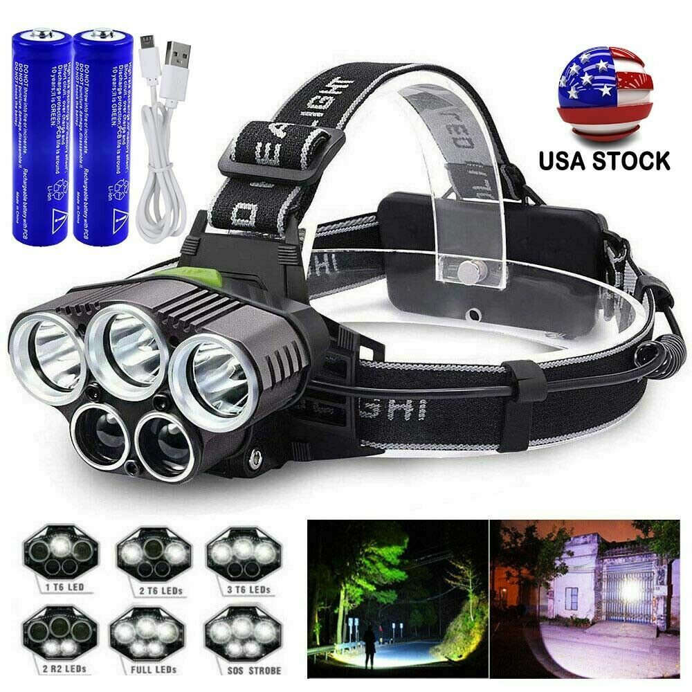 990000LM Super Bright LED Zoom Headlamp USB Rechargeable Headlight Head Torch US Camping & Hiking