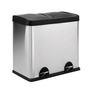 Stainless Steel Pedal  2 Compartments  Rubbish Bin 60L Melbourne CBD Melbourne City Preview