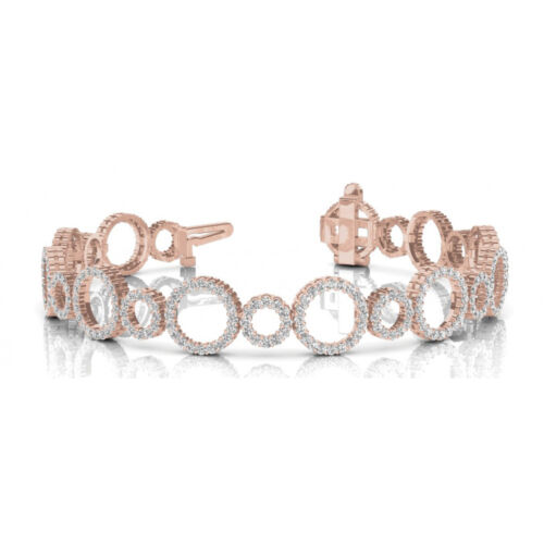 4.15 Carat Si1 White Round Diamond Bracelet Fashion Style 14k Rose Gold