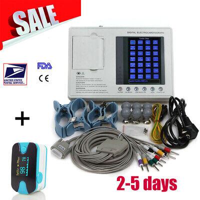 7 Inch 3-channel Electrocardiograph Ecg Ekg Machine System Printer Gift Oximeter