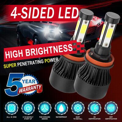 4-Sides H9 H11 Combo LED Headlight Kit Fog Light Bulbs High Low Beam 6000K HID