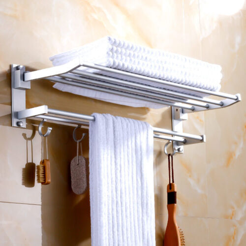 Modern double wall mounted bathroom bath towel rails for Bathroom towel storage