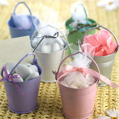 Mini Metal Buckets (Mini Metal Bucket Candy Favours Box Pail Wedding Party Festivals Gifts)