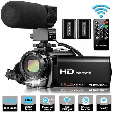 Video Camera Camcorder with Microphone VideoSky FHD 1080P 30FPS 24MP Vlogging...