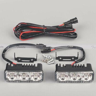 2Pcs 3 LED 12V White Car Truck DRL Daytime Running Lights High Power Fog Lamp #w