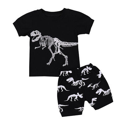 Lovely Baby Boys Pajamas Cute Cartoon Dinosaur Print Tops Shorts Outfits Set