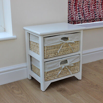 JVL 2 Two Tier Maize Drawer White Wood Storage Unit Cabinet with Linings