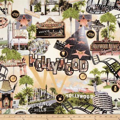 Hollywood Movie Fabric Cream Beverly Hills Sign Film Benartex 100% Cotton OOP