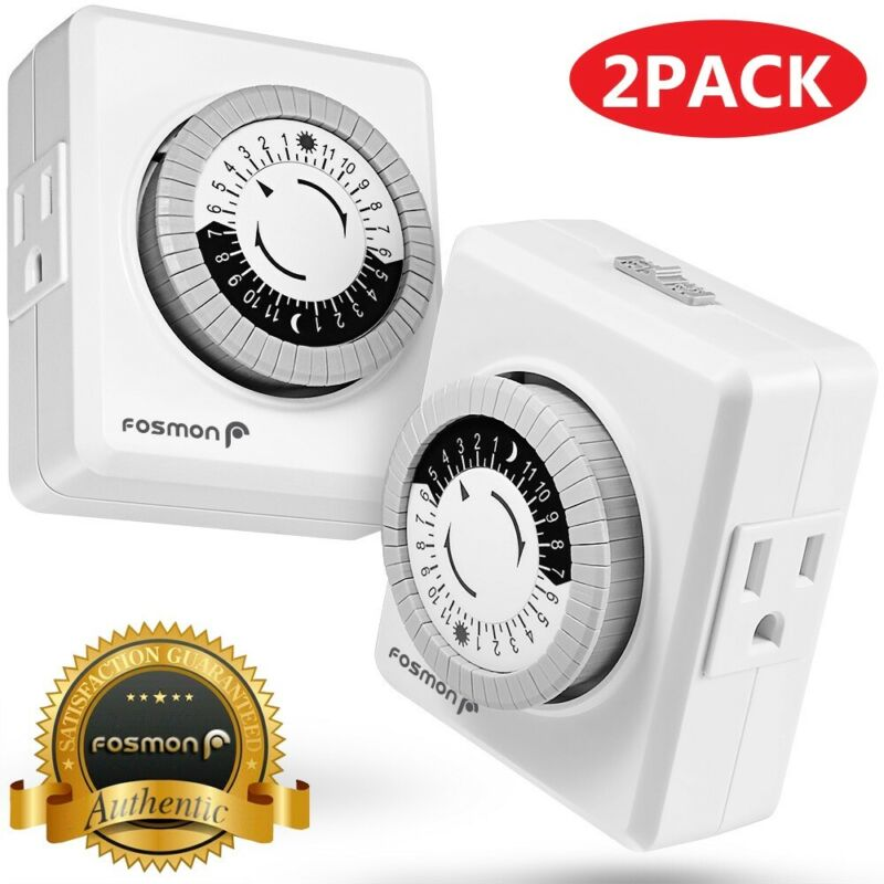 2x Indoor 24-Hour Plug In Daily Mechanical 2 Outlet Timer Light 3 Prong Switch