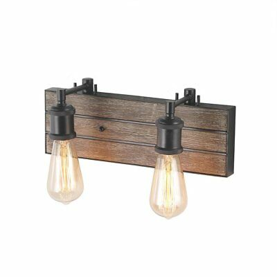 LOG BARN 2-Light Bathroom Wall Lamps Wood Indoor Wall Sconces Wall Lights Vanity