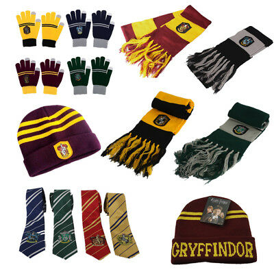 Harry Potter Gryffindor Gloves Tie Necktie Scarf Tie Hat Costume Halloween - Harry Potter Halloween Scarf