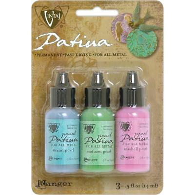 Vintaj Patina (RANGER Vintaj Patina Permanent Metal Inks Paint 3 pack Fast Drying ABALON)
