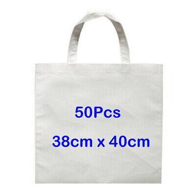 50pcs 38x40cm White Sublimation Blank Shopping Bag Diy Heat Press Non-woven Bag