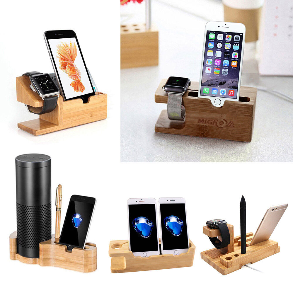 Wood Bamboo Charge Dock Station Stand Holder For Apple Watch