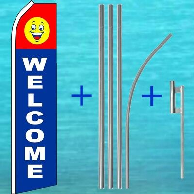 Welcome Flutter Flag Pole Mount Kit Tall Curved Swooper Feather Banner Sign