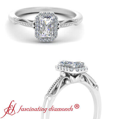 1 Carat Radiant Cut Diamond Halo Floral Shank Engagement Ring In 14K White Gold