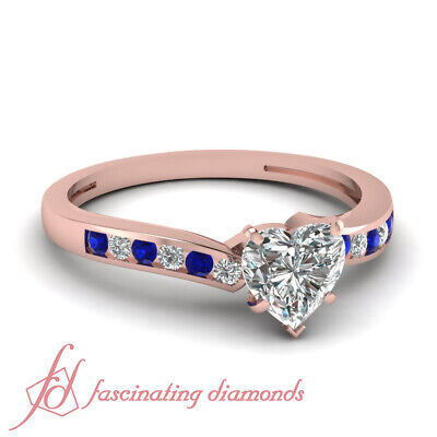 Blue Sapphire Channel Set Engagement Ring With Heart Natural Diamond 3/4 Ct GIA