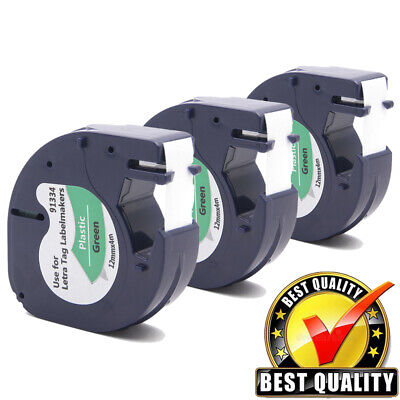 3pk 91334 Black On Green Label Tape For Dymo Letratag Plastic Tape Refill 12