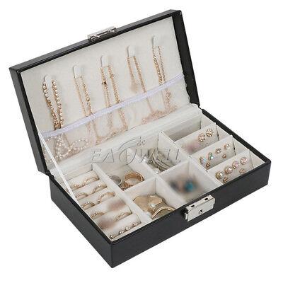 - Travel Jewelry Box Organizer Leather Lady Jewellery Ornaments Case Flip Storage