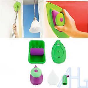 Set 4 Point Paint Pad Painting Roller Tray Sponge Kit Brush Home Wall Decor Tool