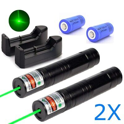 2PC 600Miles Handheld Green Laser Pointer Pen 532nm Rechargeable Astronomy Lazer