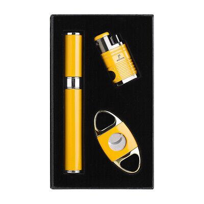PIPITA Cigar Gift Set 4 Torch Butane Gas Cigar Lighter + Tube Humidor + Cutter Cigar Tube Gift