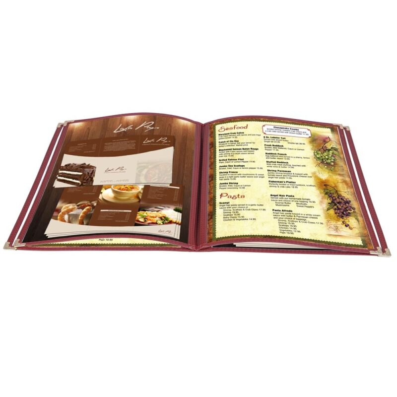 20pcs Restaurant Menu Cover Foldable 8.5X11 Burgundy Trim 4 Page 8 View Cafe