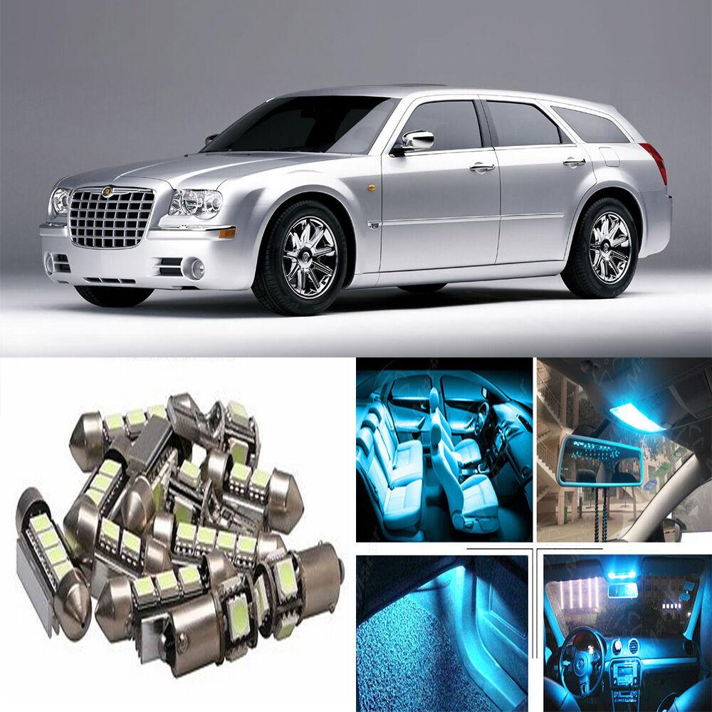 14×ICE Blue LED Interior Light Package Kit For Chrysler