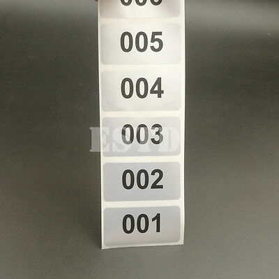 6000 Labels Consecutive Number Stickers Silver Waterproof From 1 To 6000