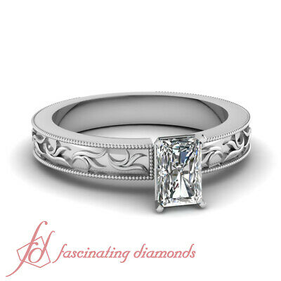 1/2 Carat Radiant Cut H-Color Diamond Twig Design Solitaire Engagement Ring GIA