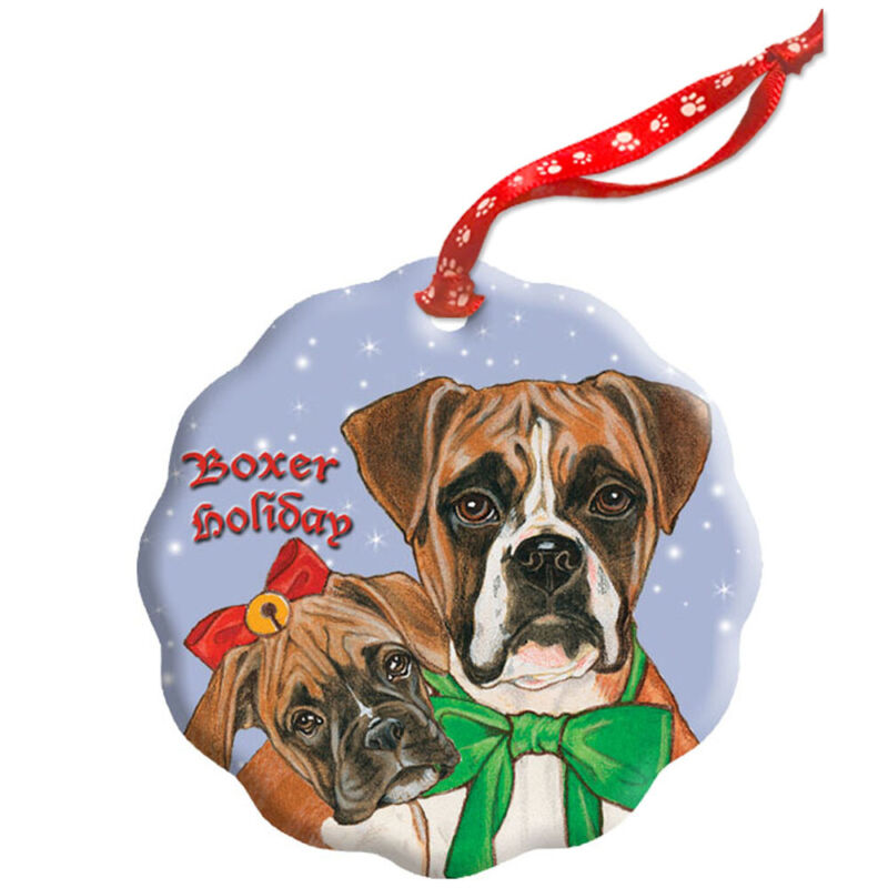 Boxer Holiday Porcelain Christmas Tree Ornament