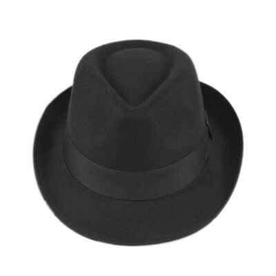 Men Women Black Hard Felt Fedora Trilby Panama Hat Cap DOYDUSs