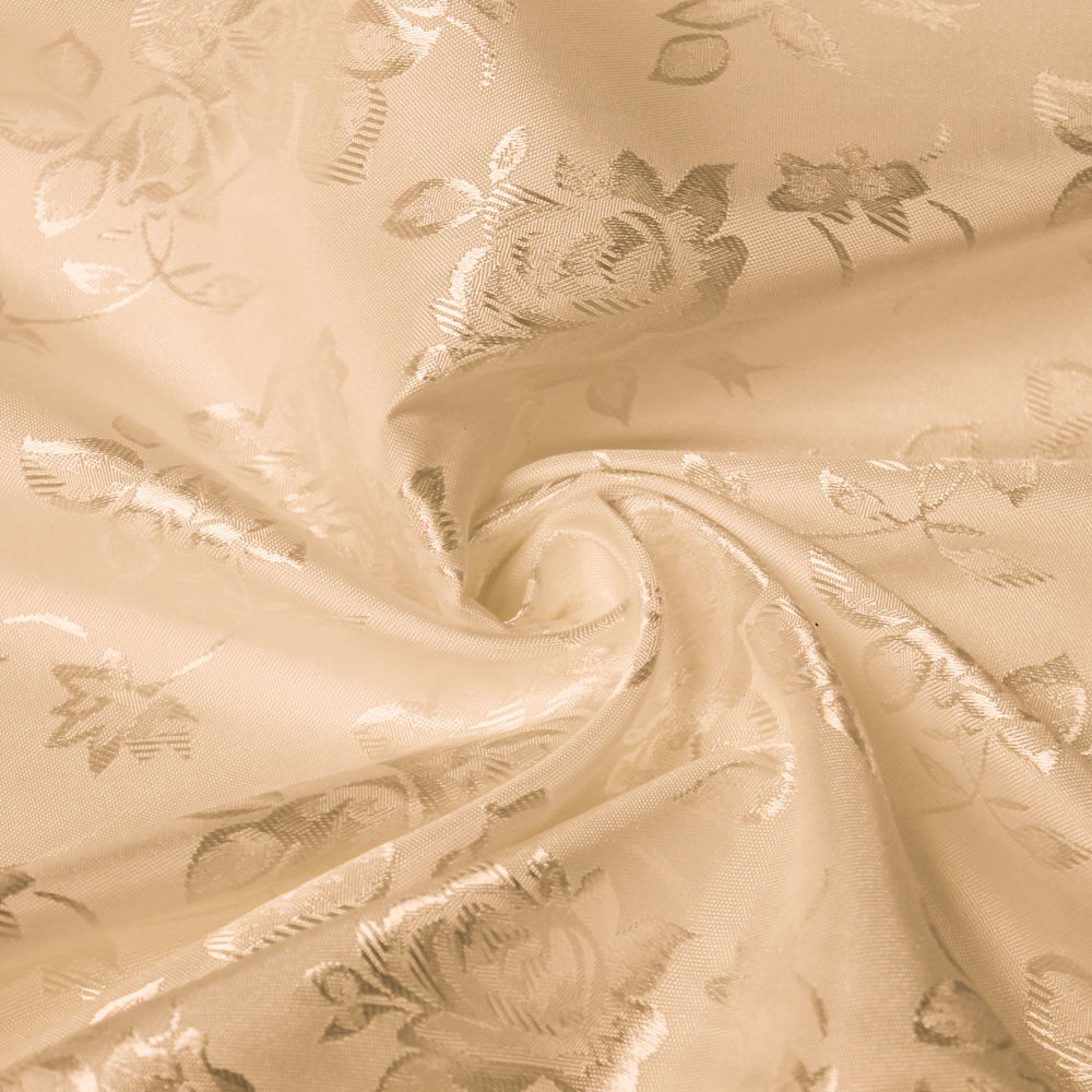 34 Colors Kayla Floral Jacquard Brocade Satin Fabric by the Yard - 10004 Sand