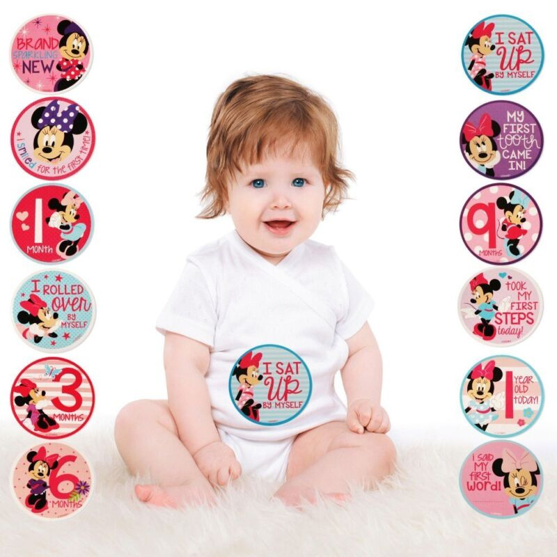 NEW Disney Minnie Mouse Milestone Photo Prop Belly Stickers Baby Girls