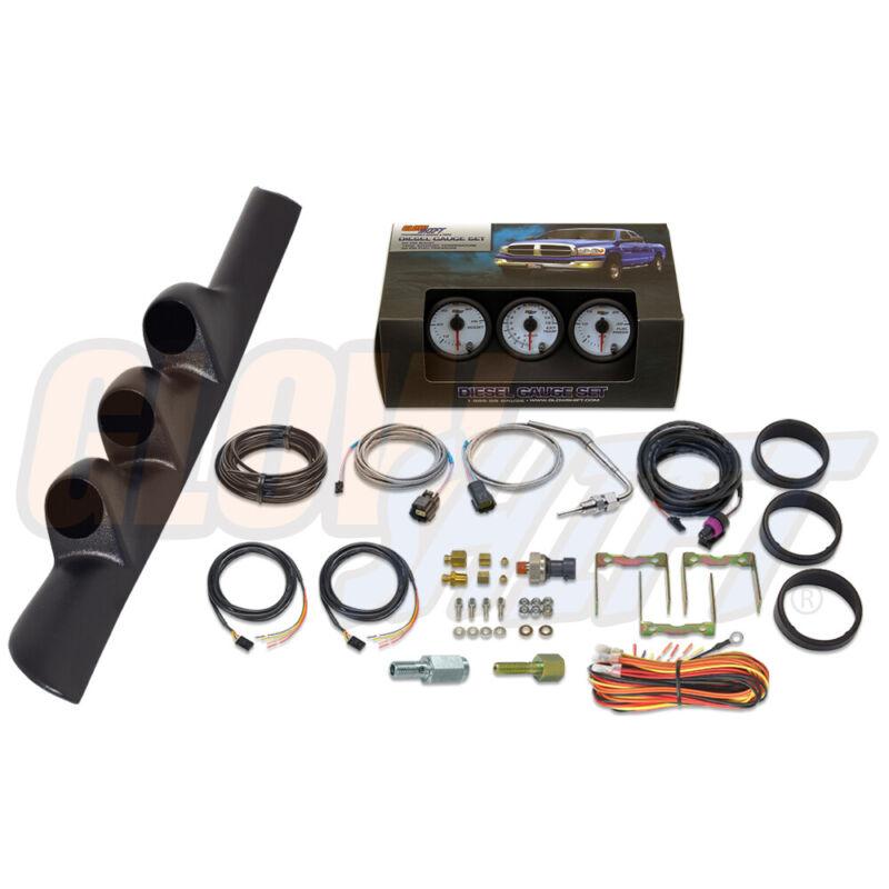 GlowShift W7 Boost EGT Fuel Press Gauges, Pillar Pod for 98-02 Dodge Ram Cummins