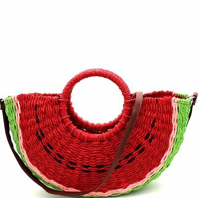 Handmade Natural Straw Watermelon Print Novelty Straw Basket Purse with Strap ()