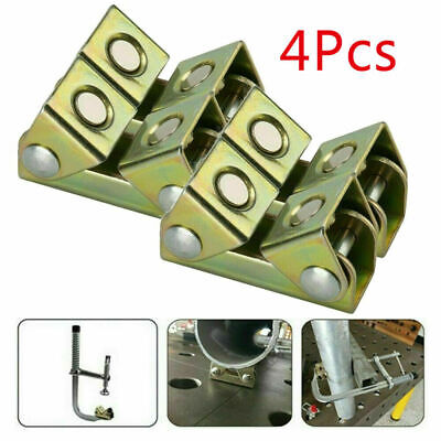 4pcs V Type Adjustable Magnetic Welding Clamps Holder Suspender Fixture Pads