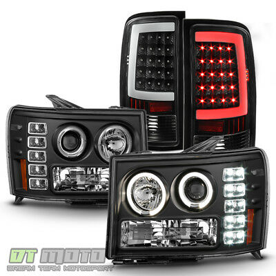 2007-2013 GMC Sierra 1500 2500HD Projector Headlights+Neon Tube LED Tail Lights