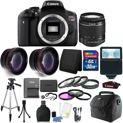 Canon EOS Rebel T6 DSLR Camera + EF-S 18-55mm IS II Lens Kit + 32GB Top Bundle