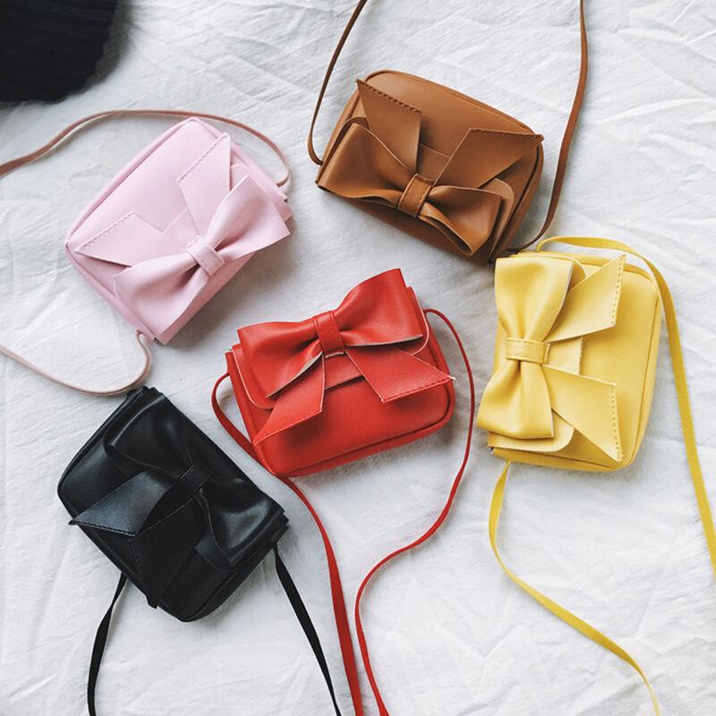 Neu Mädchen Cute Bogen Leder Tasche Kinder Kleine Schultertasche Mini Handtasche