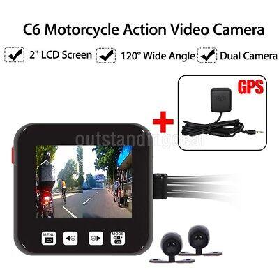 Motorrad Kamera Motorrad Dual HD Dash Cam Video Camcorder Wasserdicht+GPS  DE