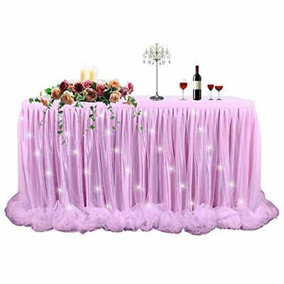 LED Table Skirt 6ft Pink Tulle Tutu Cloth Skirting For Rectangle Round Baby And - Pink Tutu Table Skirt